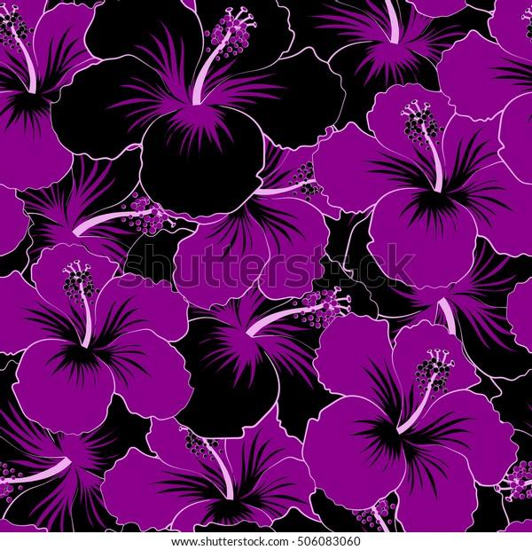 Various Black Purple Hibiscus Hawaiian Tropical Stock Illustration