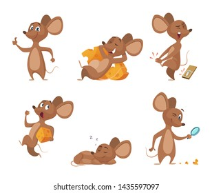 Various characters of mice in action poses. Mouse animal, rat rodent cheerful with cheese, illustration