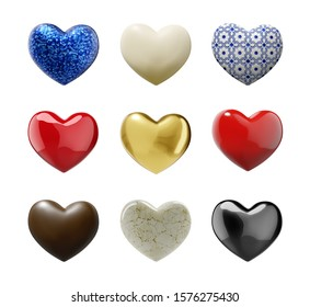 Various Colorful Hearts with clipping path - 3D illustration