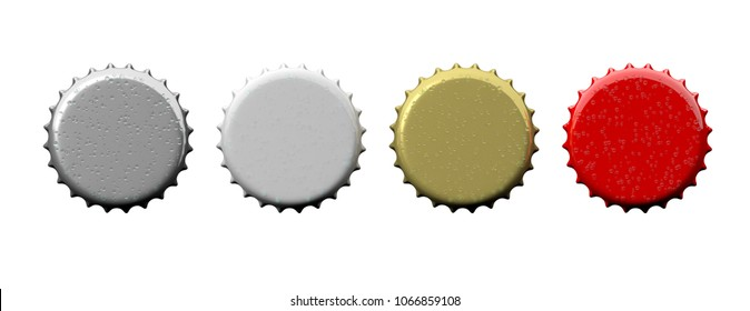 Various colors blank beer caps isolated on white background, top view, banner, space for text. 3d illustration