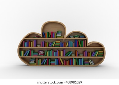 Various Colourful Books Arranged On Wooden Shelves Against White Background
