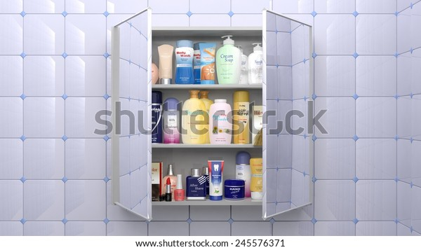 Various cosmetics and personal care products in bathroom cabinet