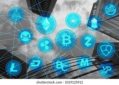 various crypto currency network building background