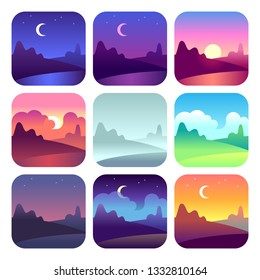 Various day times. Early morning sunrise and sunset, noon and dusk night. Sun and moon time countryside landscape icons