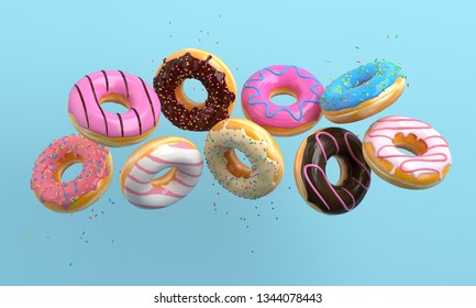 Various decorated donuts in motion falling on blue background. Sweet and colourful doughnuts falling or flying in motion. 3d-illustration.