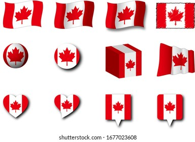 Various designs of the Canada flag.