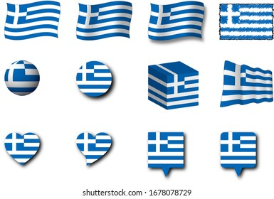 Various designs of the Greece flag.