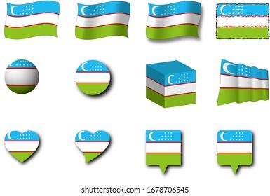 Various designs of the Uzbekistan flag.