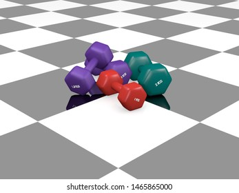 various dumbbells on black and white ground with reflection. 3d rendering