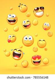 Various emojis on yellow background, 3d rendering