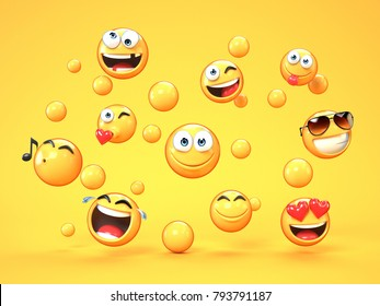 Various emojis on yellow background, 3d rendering