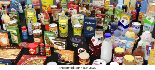 Various food grocery package products, on black background with reflections