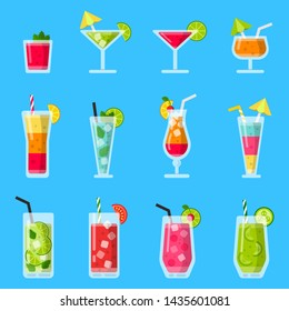 Various fresh juice and cocktails. set in flat style. Illustration of cocktail glass, fresh drink beverage