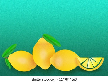 Various, fresh, yellow lemons illustrated with a grain and a turquoise noise texture background with a lot of space for text.