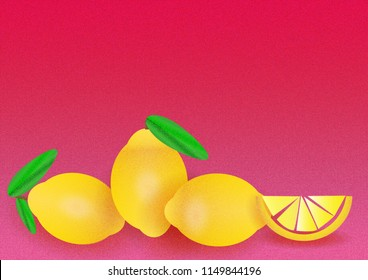 Various, fresh, yellow lemons illustrated with a grain and a pink noise texture background with a lot of space for text.