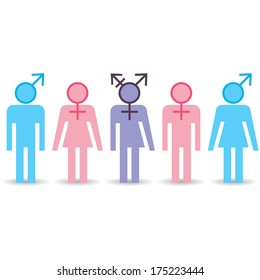 Various gender identities, set of different icons. Raster version