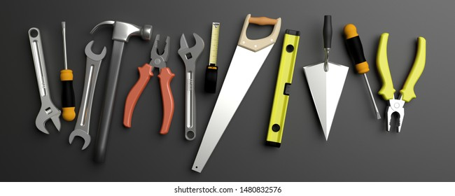 Various Hand  tools withcopy space on a background. 3d illustration