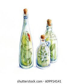 various herbs bottles