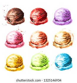 Various ice cream set. Watercolor hand drawn illustration, isolated on white background