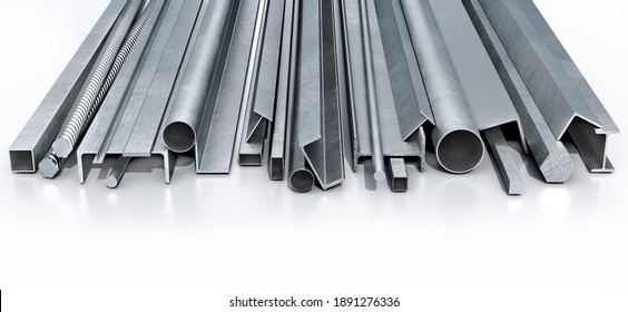 Various and long metal profiles on a white reflective floor, 3d illustration