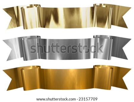 Various Metallic Frames Gold Silver Bronze Stock Illustration