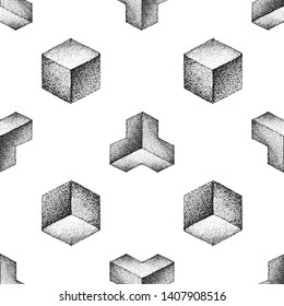 various monochrome blackwork engraving vintage geometric platonic solid illustrations ornament decoration seamless pattern white background