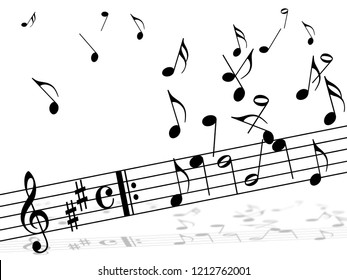 Various music notes on white background