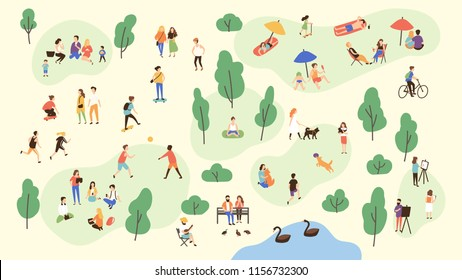 Various people at park performing leisure outdoor activities - playing with ball, walking dog, doing yoga and sports exercise, painting, eating lunch, sunbathing. Cartoon colorful illustration.