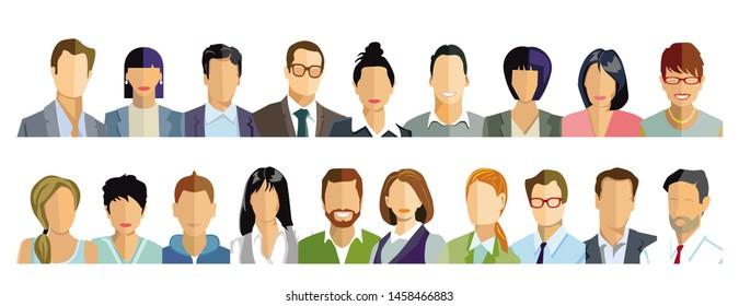 Various people, portrait, faces, illustration