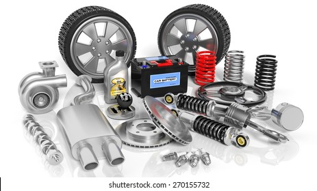 Various of a spare car parts and accessories, isolated on white background