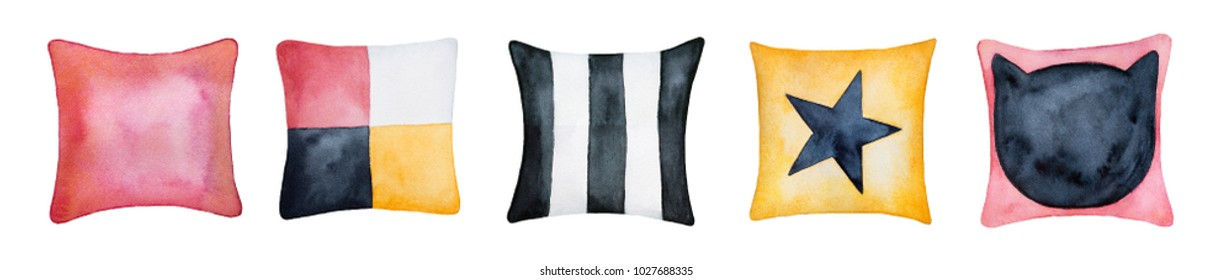 Various square pillow cases combination for decor and interior design. White, gold, black, pink, burgundy red colour textile. Above, top view. Hand drawn watercolour on white background, cut out.