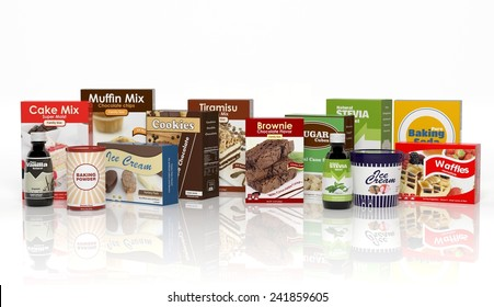 Various sweets products isolated on white. Package food
