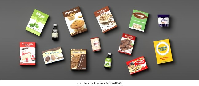 Various sweets products isolated on grey background. 3d illustration