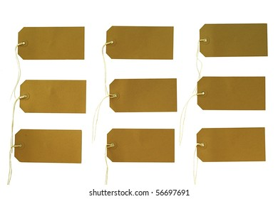 Various tags with string, isolated