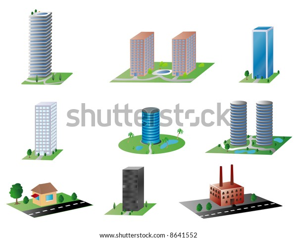 Various Types Buildings Espresso Stand Modern Stock Illustration ...