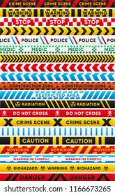 Various warning tapes isolated set. Caution, biohazard, danger, radiation, police, crime scene, novichok, stop, caution, construction zone text. Traffic and people safety elements illustration.