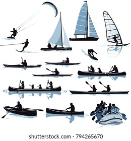 Various water sports illustration