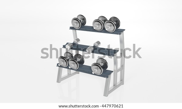 Various weights on a rack, sports equipment isolated on white background, 3D illustration