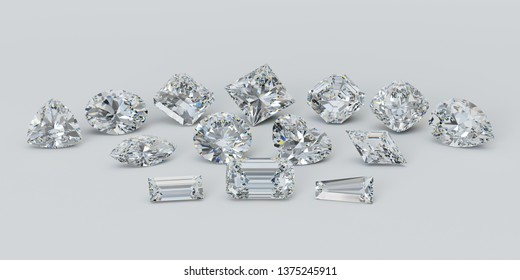 Variously cut diamonds on white background. 3D illustration
