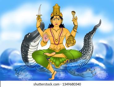 Varuna – Image of Varuna, the God of water, seated on his vehicle – a crocodile, amidst the vast ocean