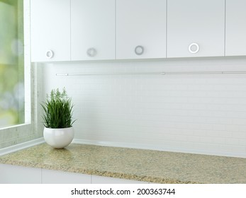 Vase with plant on the marble worktop. White kitchen design.