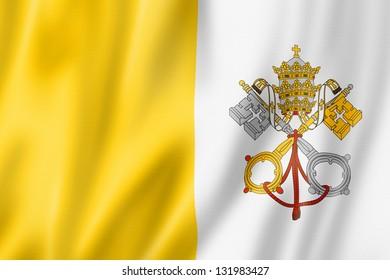 Vatican City flag, three dimensional render, satin texture