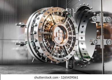 Vault bank door. 3d concept. Rendering