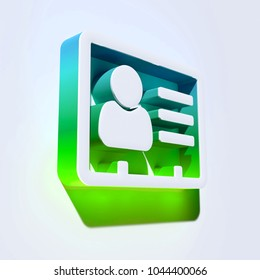 Vcard Icon on the Aqua Wall. 3D Illustration of White v Card, v Card, Vcard, Vcard File, Vcard File Icons With Aqua and Green Shadows.