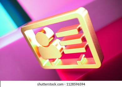 Vcard Icon on the Candy Magenta and Cyan Geometric Background. 3D Illustration of Gold v Card, v Card, Vcard, Vcard File, Vcard File Icon Set With Color Boxes on Magenta Background.