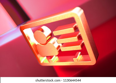 Vcard Icon on the Red Geometric Background. 3D Illustration of Metallic v Card, v Card, Vcard, Vcard File, Vcard File Icon Set With Color Boxes on Red Background.