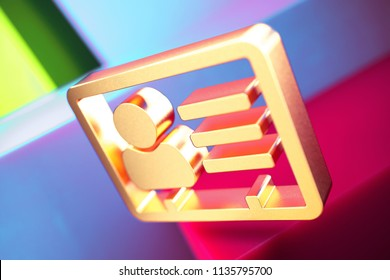 Vcard Icon on the Violet and Contrast Green Geometric Background. 3D Illustration of Gold v Card, v Card, Vcard, Vcard File, Vcard File Icon Set With Installation of Color Boxes.
