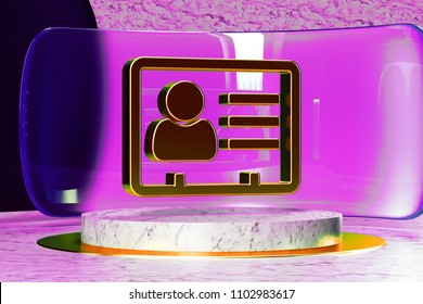 Vcard Icon on White Marble and Magenta Glass. 3D Illustration of Stylish Golden v Card, v Card, Vcard, Vcard File, Vcard File Icon Set in the Magenta Installation.