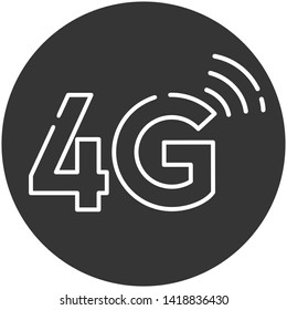 Vector 4G wireless internet connection sign icon. Sign symbol connection 4G. Illustration of 4G mobile internet sign symbol in flat minimalism style. 4G sign in black and white colors
