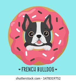 Vector Animal dog breed french bulldog. French bulldog puppy with sweet pink donut. Dog frenchie bulldog pet in flat style